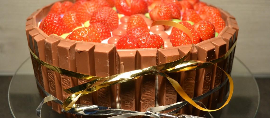 Aardbeien slagroom taart