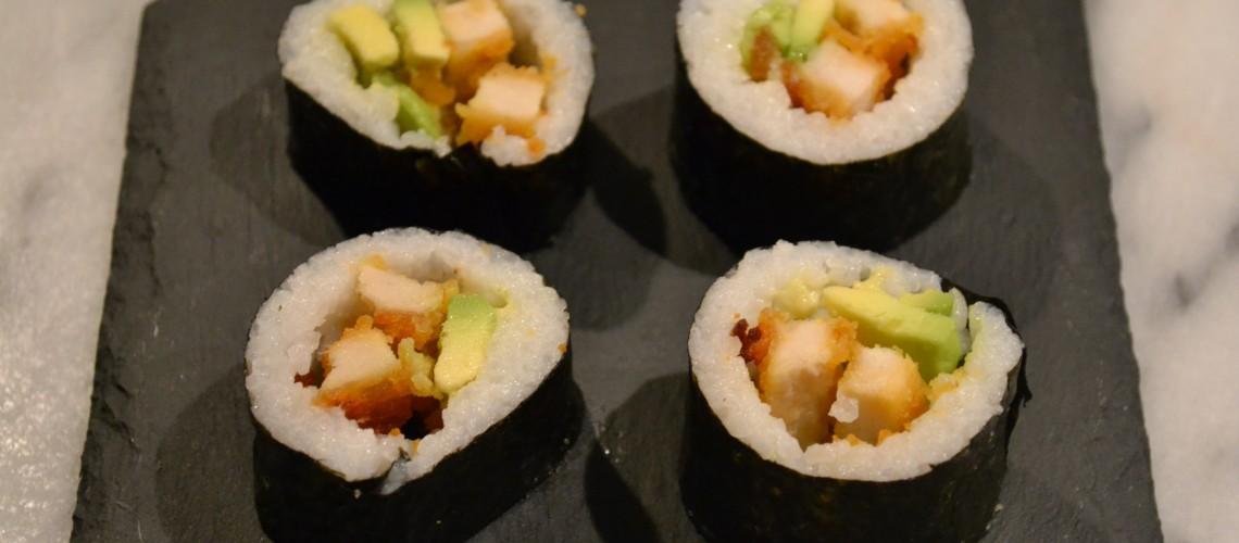 Krokante kip sushi